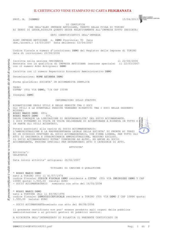 Certificato iscrizione albo imprese artigiane